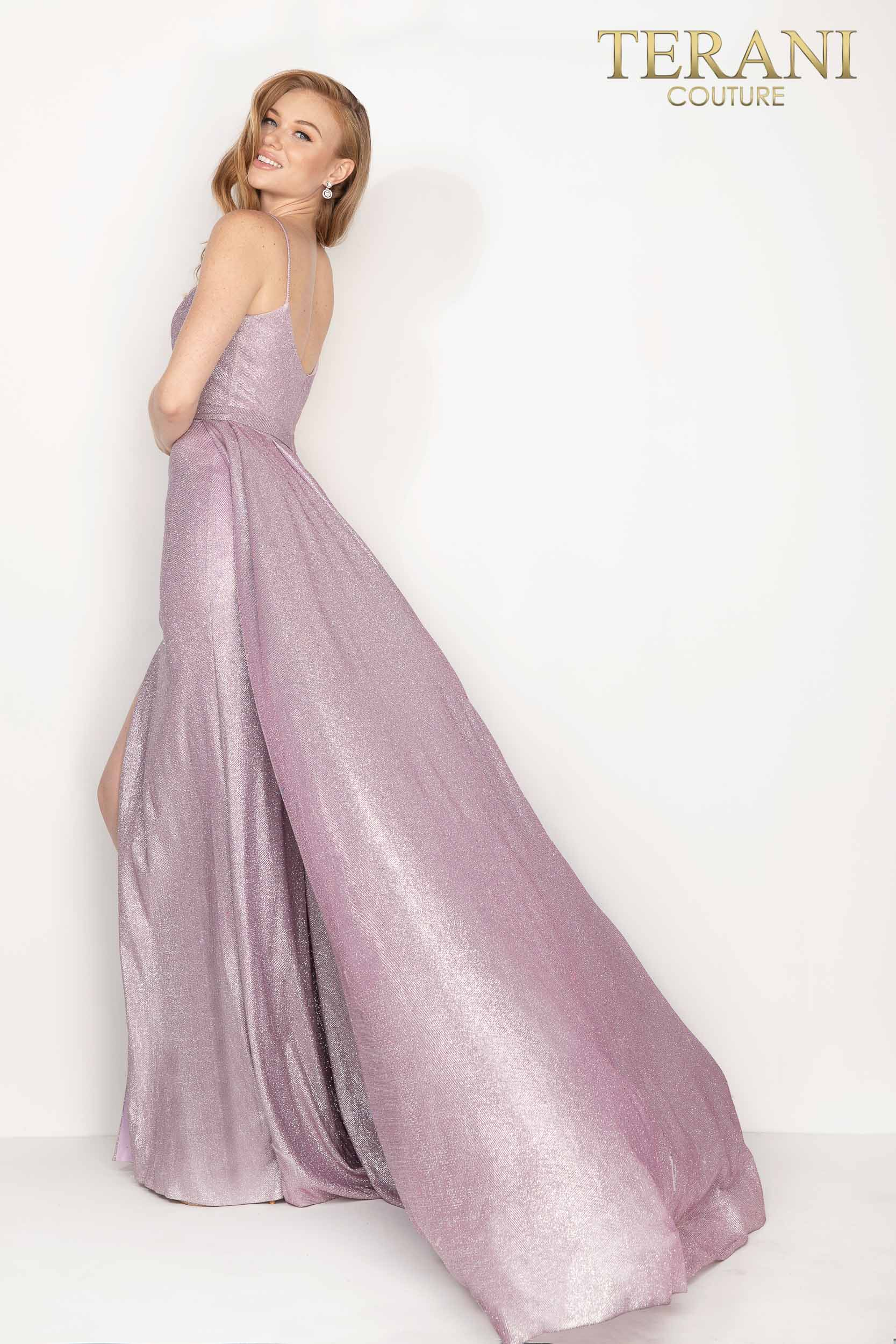 Terani Couture mink metallic high slit prom dress with overskirt – Style number 2011P1164
