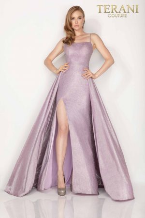 Metallic high slit prom dress with overskirt –  2011P1164