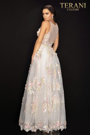 Floral v – neckline tulle long prom ball gown –  2011P1171