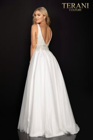 Pearl and crystal  – neckline prom ball gown –  2011P1178