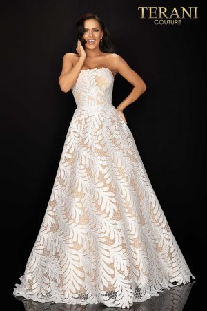 Palm leaf embroidered strapless prom ball gown – 2011P1183