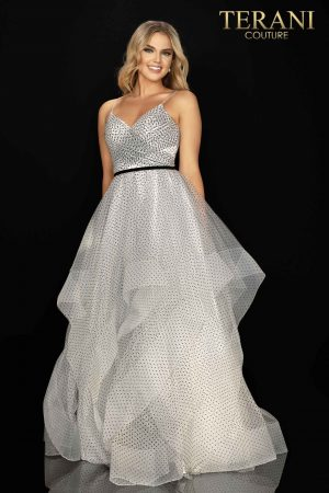 Spaghetti strap layered prom gown  –  2011P1200