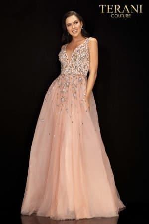 Sleeveless v – neckline prom gown – 2011P1205