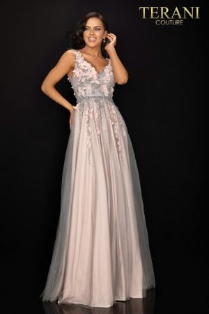Two tone floral glitter tulle prom gown – 2011P1207