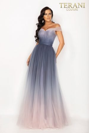 Ombre off shoulder long prom ball gown – 2011P1208