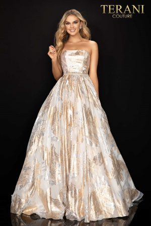Strapless metallic print long prom ball gown –  2011P1210