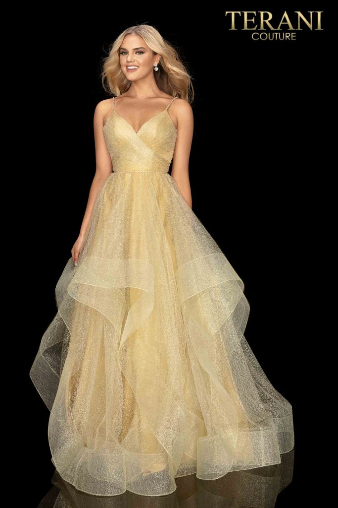Terani Couture Gold Long tulle prom ball gown – Style number 2011P1213