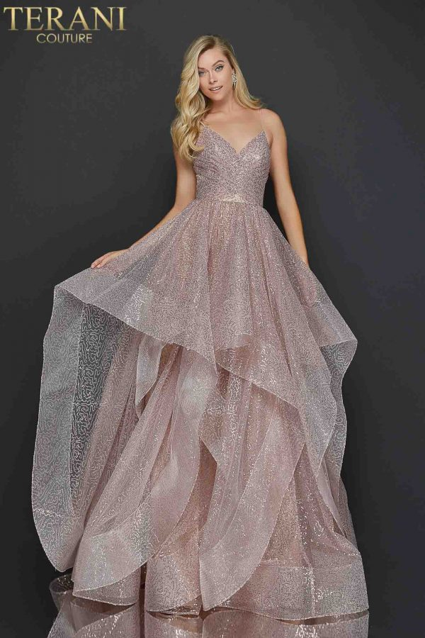 Rose Gold Sparkling glitter layer tulle prom ball gown –Style number 2011P1214
