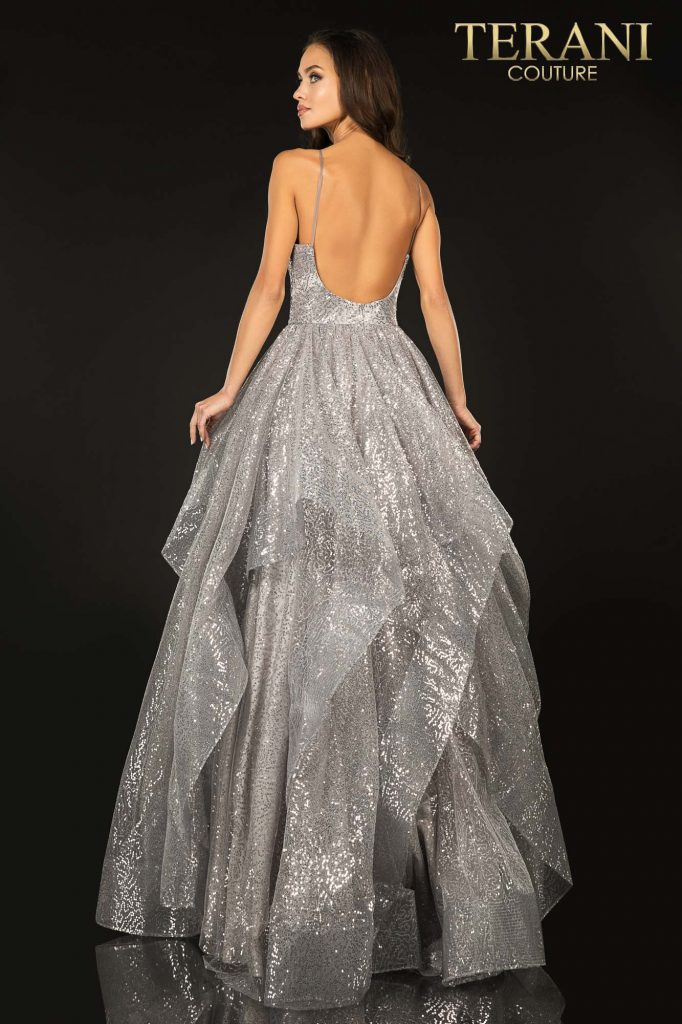 Silver Sparkling glitter layer tulle prom ball gown –Style number 2011P1214