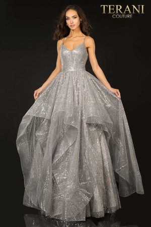 Sparkling sequin glitter layer tulle prom ball gown –  2011P1214