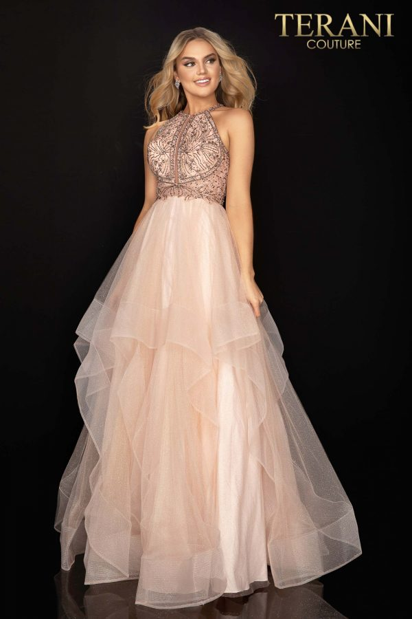 Blush beaded bodice halter prom ball gown – Style number 2011P1217