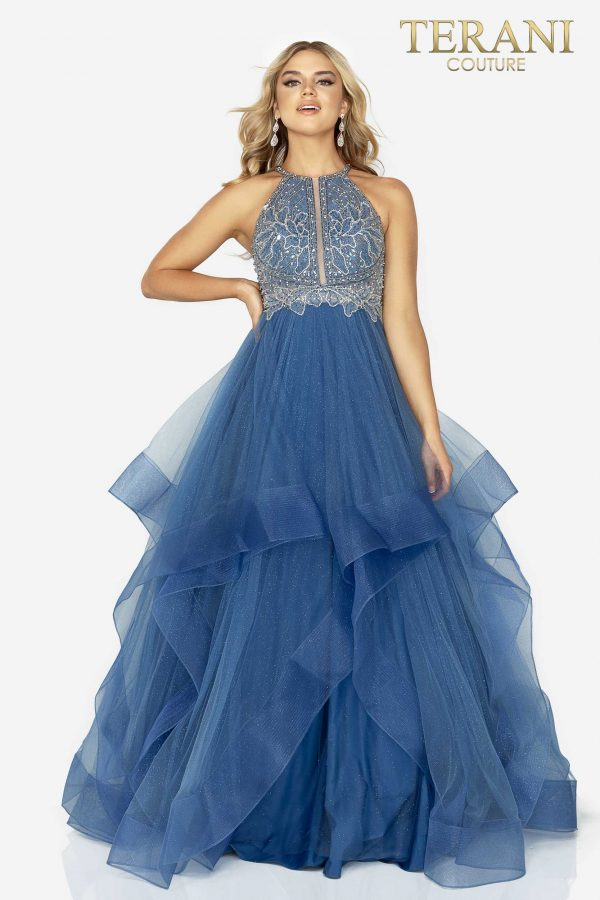 Blue beaded bodice halter prom ball gown – Style number 2011P1217