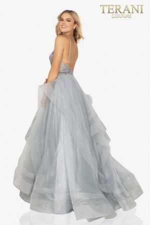 Halter neck beaded prom ball gown with layered tulle skirt  – 2011P1222