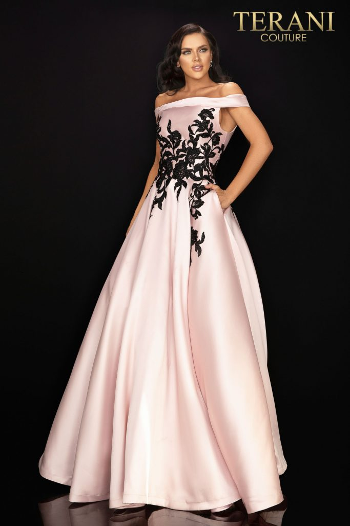 Off shoulder satin prom ball gown – Style number is 2011P1229, color is Blush Black