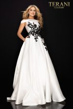 Off shoulder satin prom ball gown - 2011P1229