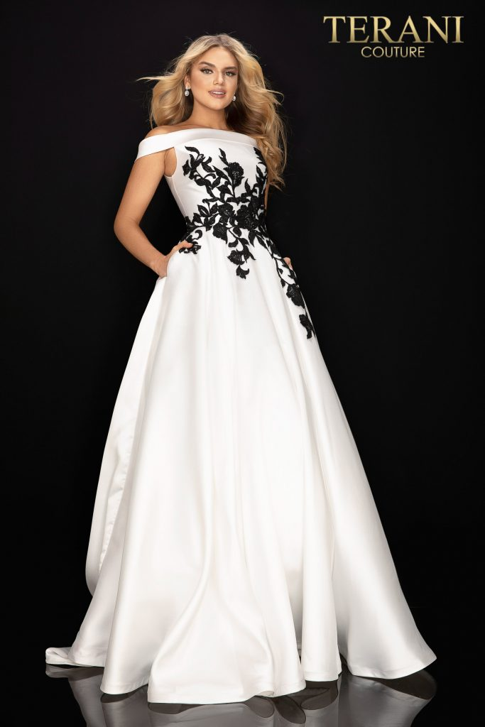 Off shoulder satin prom ball gown – Style number is 2011P1229, color is Ivory Black