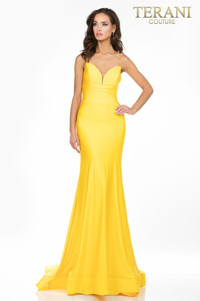 Open back fitted Jersey prom dress - 2011P1234