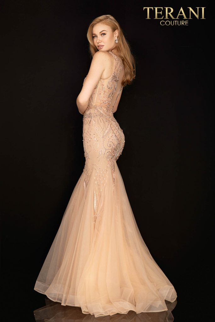 Sleeveless illusion beaded prom dress made with embroidery fabric – Style number is 2011P1452, color is Blush Mocha.