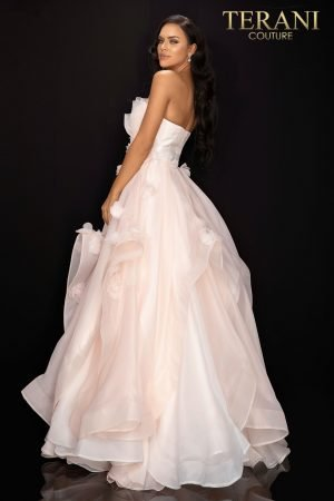 Strapless floral organza prom ball gown  –  2011P1459