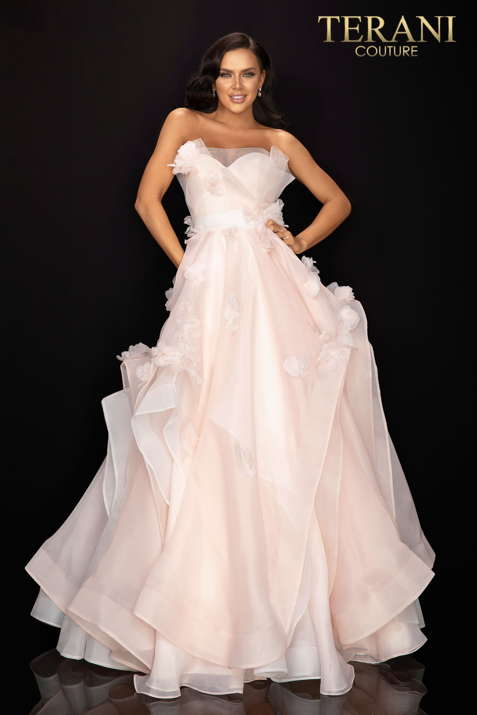 Strapless floral organza prom ball gown - 2011P1459