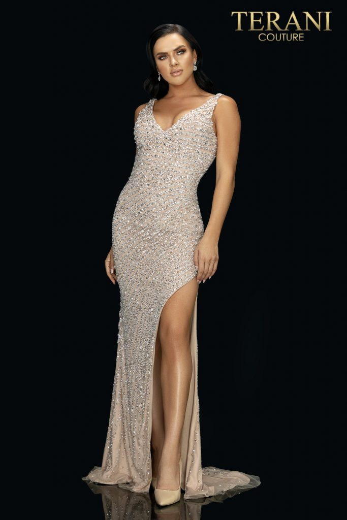 Ivory nude sexy form fitting beaded prom gown with high slit – Style number 2011P1460