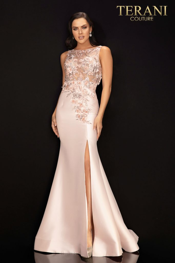Style: Sleeveless illusion prom gown with 3D flowers and slit – 2011P1467
