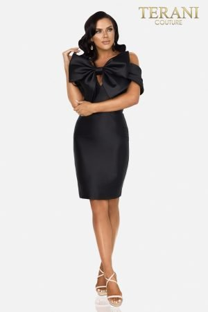 The little black dress with the large mikado bow  –  2012C2230