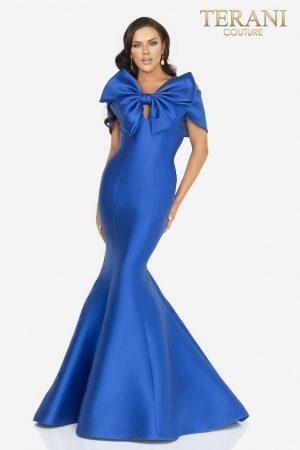 Figure hugging mermaid Mikado evening gown with a dramatic bow tie – 2012E2279
