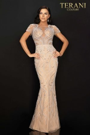 White and Silver Beading Short Sleeved Pageant Gown – 2012GL2376