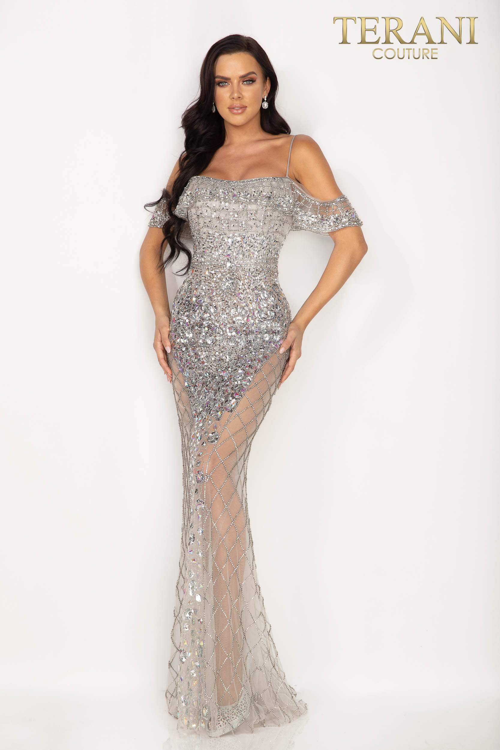 Iridescently beaded evening gown with strikingly sheer sides - 2012GL2388