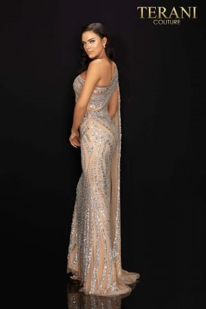 Asymmetrical beaded one shouldered cape pageant gown  –  2012GL2390