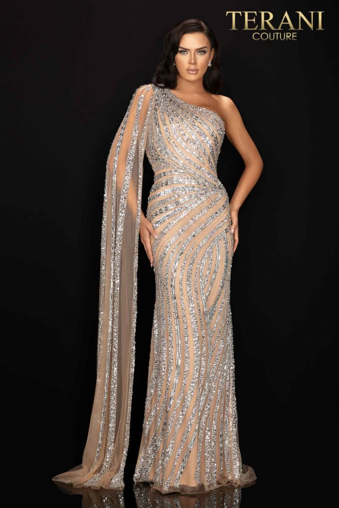 Style: Asymmetrical beaded one shouldered cape pageant gown – 2012GL2390