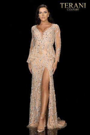 Beaded pageant gown with an asymmetrical peplum and sheer sleeves  –  2012GL2392