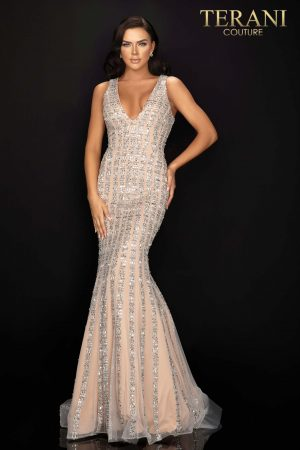 Figure hugging, mermaid, prom gown with linear beading  –  2012P1285