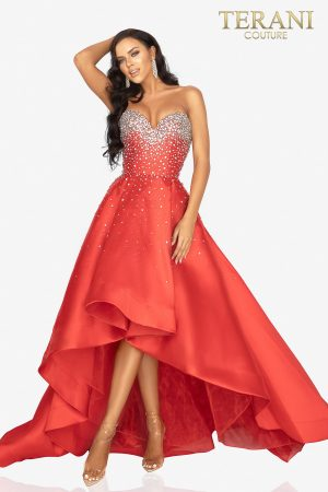 Crystal high low evening dress with a sweetheart neckline –  2012P1286
