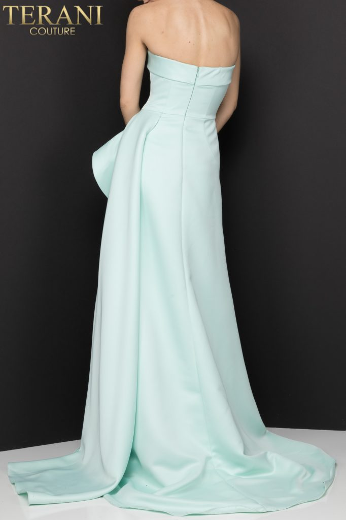 Pistachio colored Strapless A–line evening gown with a cascading peplum – Style number 2012P1288
