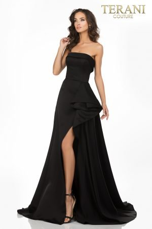 Strapless A-line evening gown with a cascading peplum – 2012P1288