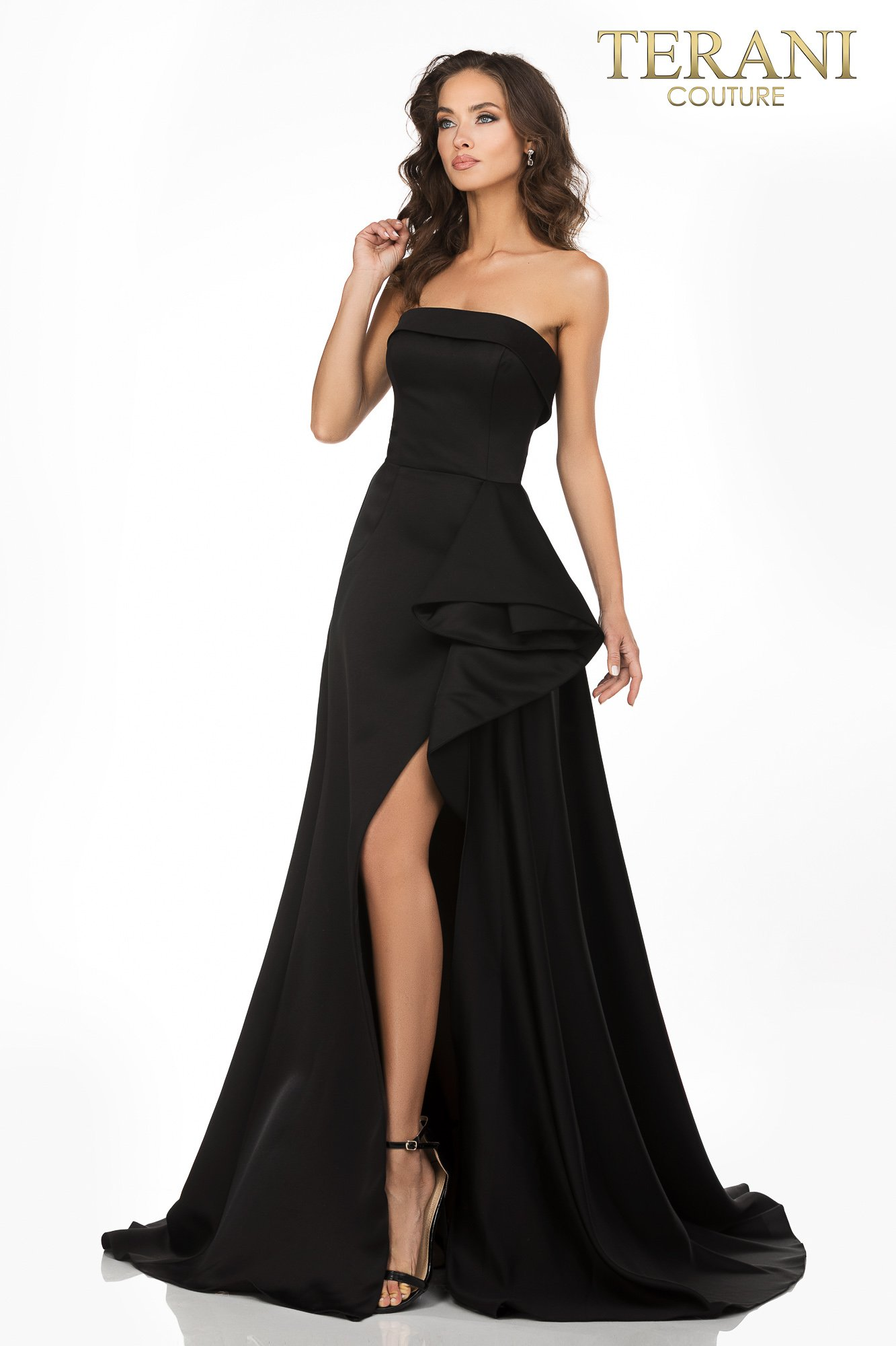 Black colored Strapless A–line evening gown with a cascading peplum – Style number 2012P1288