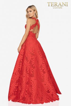 Palm leaf embroidered prom ball gown with cross back – 2012P1407
