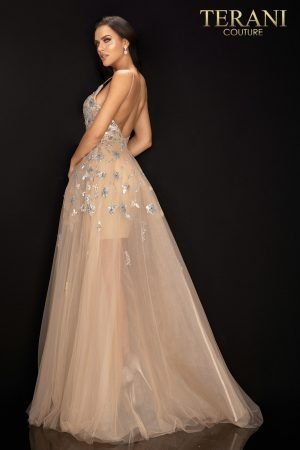 Spaghetti strap silver metallic gown with sheer Tulle skirt – 2012P1409