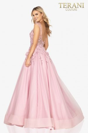 Cap sleeve illusion formal prom ball gown –  2012P1411