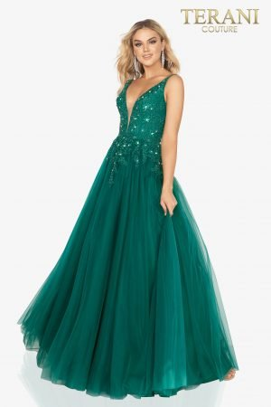Bead covered v – neckline bodice prom gown with tulle skirt – 2012P1412