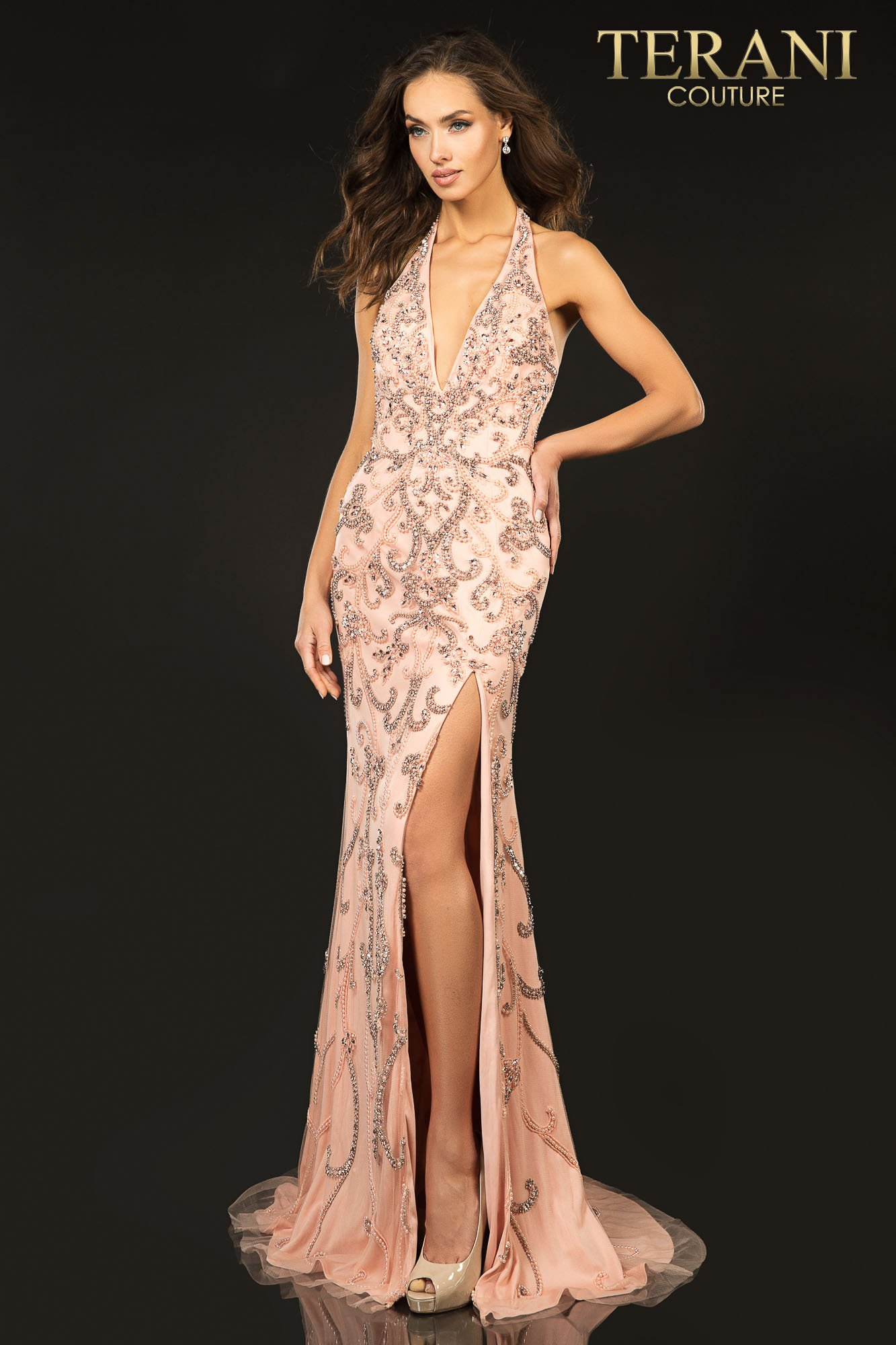Terani Couture blush Swirling beaded halter V - neck evening gown with a high slit - Style number 2012P1463