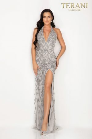Swirling beaded  halter V – neck evening gown with a high slit  –  2012P1463