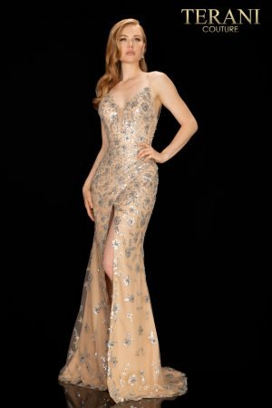 Wrap skirt long beaded prom gown with high slit – 2012P1466