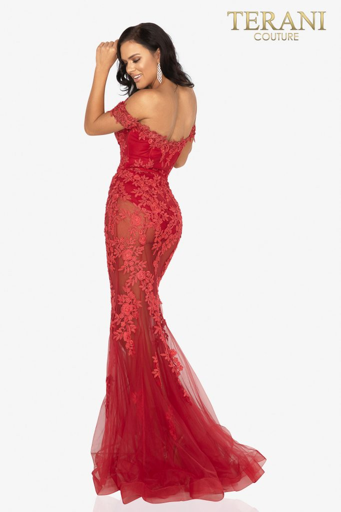 Sheer mermaid evening gown appliqued with sultry Lace – Style number is 2012P1471, color is red