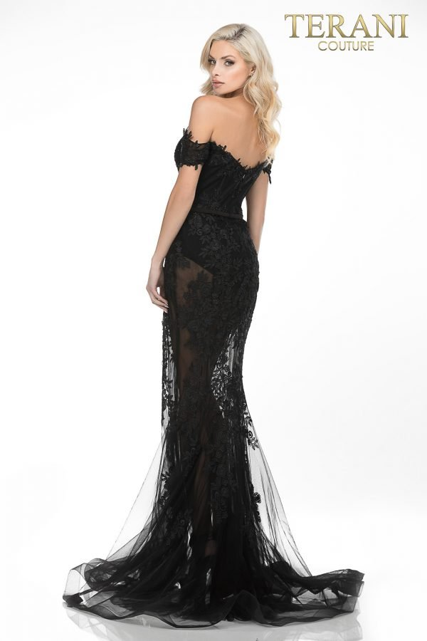 Sheer mermaid evening gown appliqued with sultry Lace – Style number is 2012P1471, color is Black