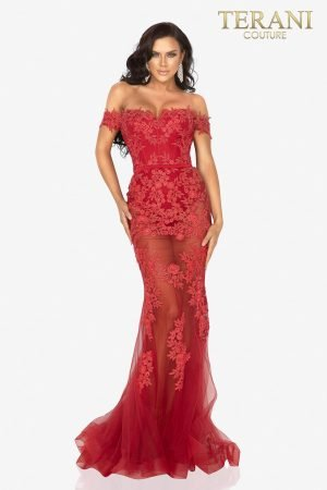 Sheer mermaid prom gown appliqued with sultry Lace – 2012P1471