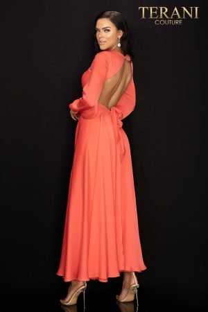 Evening capri Jumpsuit with soft overskirt and bell sleeves  –  2017E2309