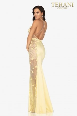Open – back evening gown with beaded 3D flower sheer sides  –  2017P1307